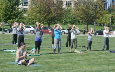 men and women practicing qigong outside in grass