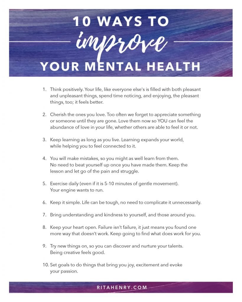 10 ways to improve your mental health list
